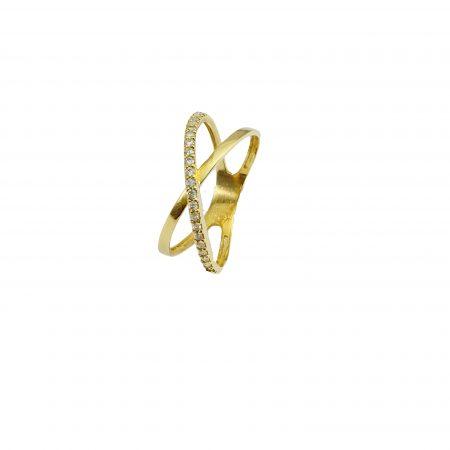 Anel em ouro 18k dois aros com diamantes
