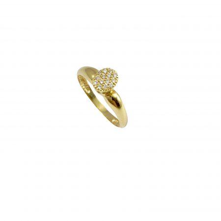 Anel em ouro 18k oval com diamantes