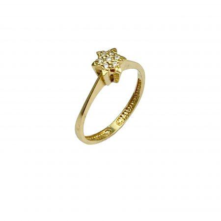 Anel estrela em ouro 18k com diamantes