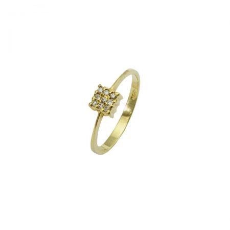Anel quadrado em ouro 18k com diamantes