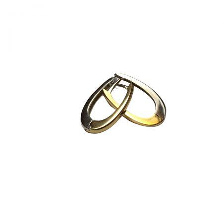 Brincos argola oval em ouro branco e amarelo 18k