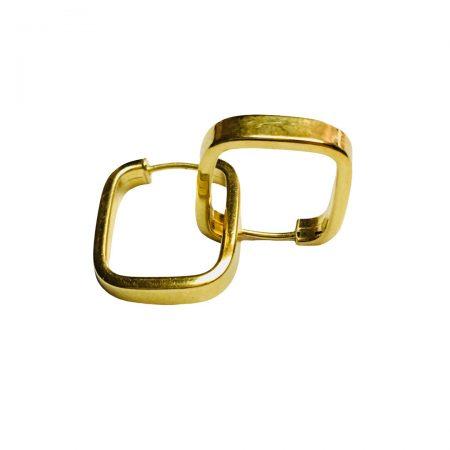 Brincos argola quadrada em ouro 18k