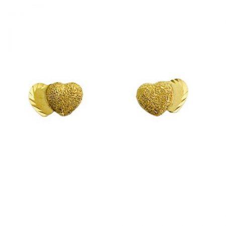 Brincos dois coracoes em ouro 18k