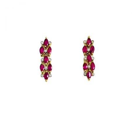 Brincos em ouro 18k articulado de rubis navete com diamantes