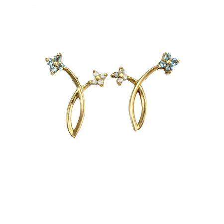 Brincos em ouro 18k com azul e diamante