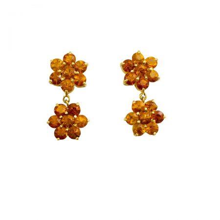Brincos em ouro 18k duas flores e citrinos