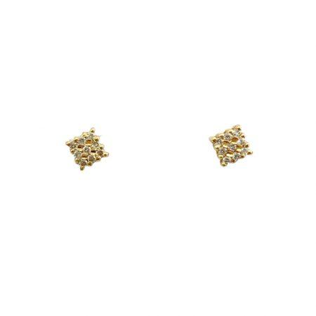 Brincos em ouro 18k quadrado com diamantes