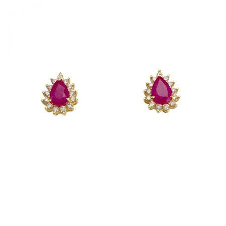 Brincos em ouro 18k rubi gota com diamantes