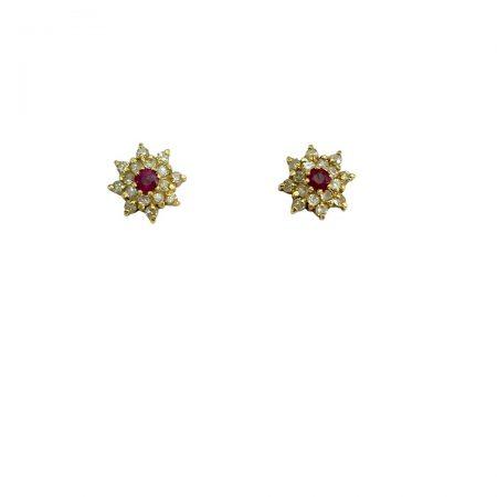 Brincos em ouro 18k rubi redondo com diamantes