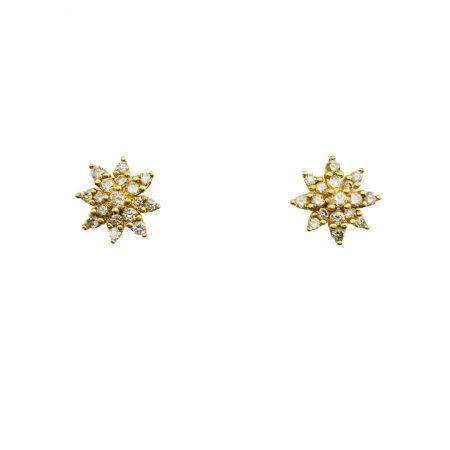 Brincos estrela em ouro 18k com diamantes