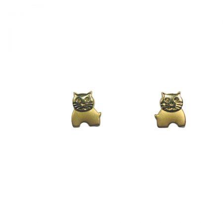Brincos gatinhos em ouro 18k