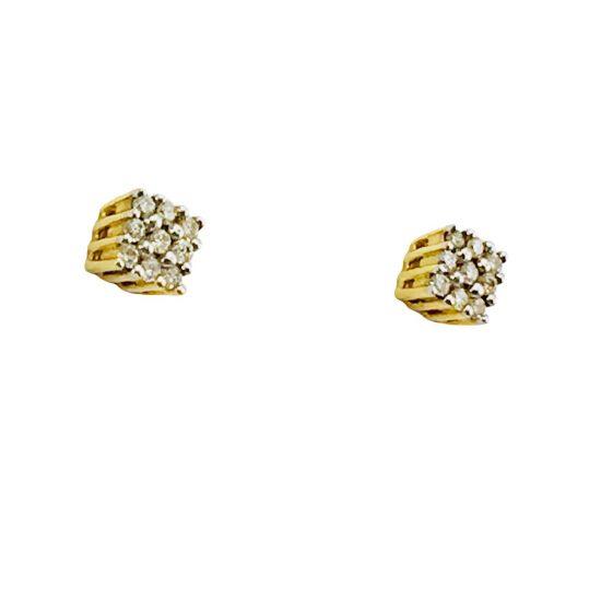 Brincos quadrado em ouro 18k com diamante