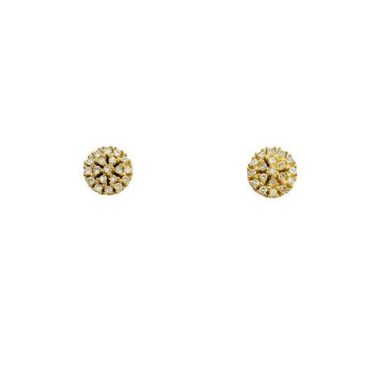 Brincos redondo em ouro 18k com diamantes