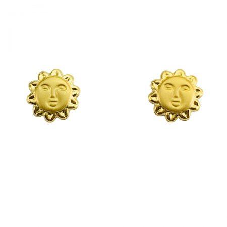 Brincos sol em ouro 18k