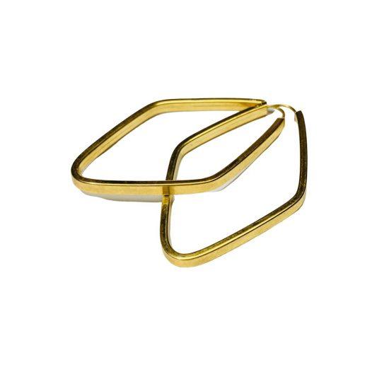 Bringo argola losango em ouro 18k