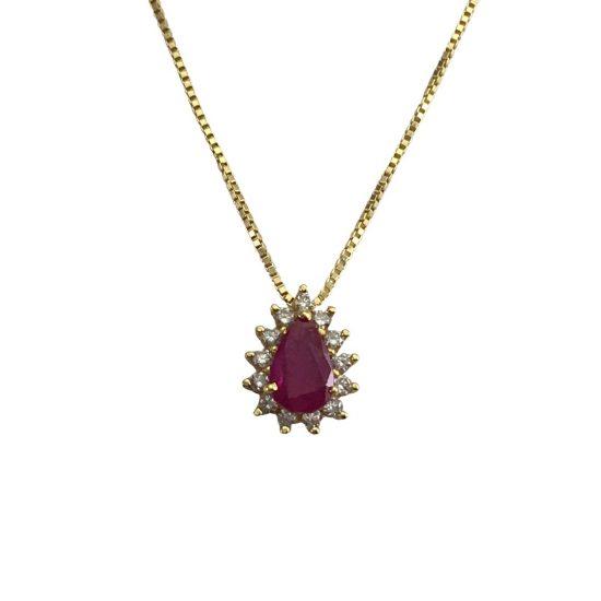 Gargantilha em ouro 18k rubi gota com diamantes