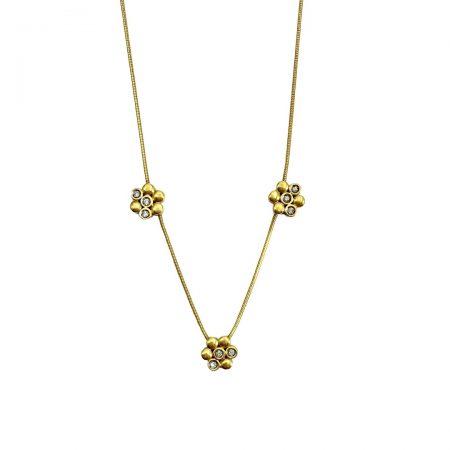 Gargantilha em ouro 18k tres flores com diamantes