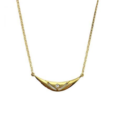 Gargantilha em ouro 18k vazada com diamante