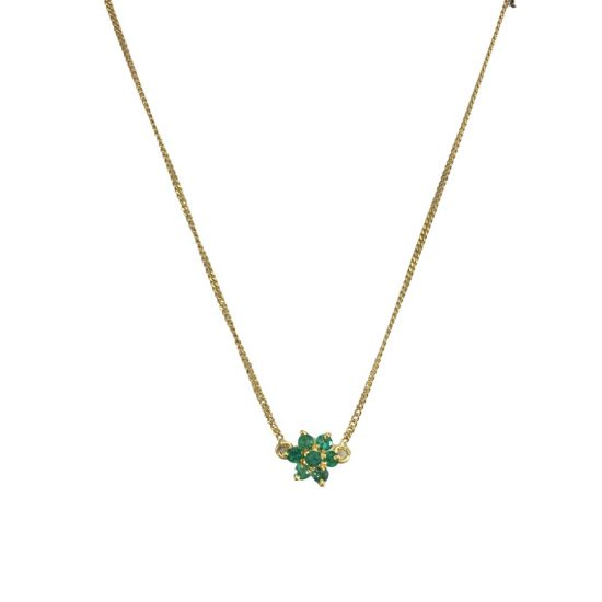 Gargantilha flor em ouro 18k com esmeraldas